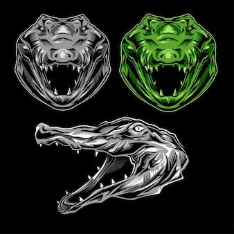 Insieme dell'illustrazione di logo del coccodrillo su fondo scuro