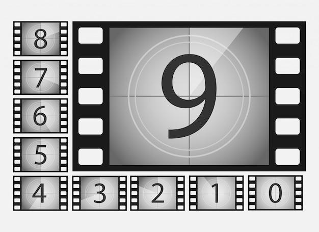 Insieme dell'illustrazione di numeri di conto alla rovescia di film