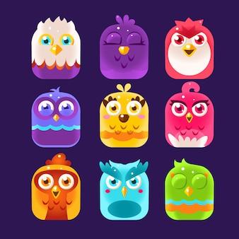 Insieme dell'illustrazione di owl icons