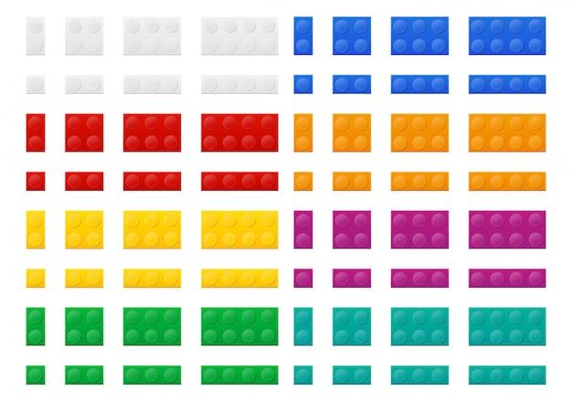 Insieme dell'illustrazione di plastica colorata di vettore di vista superiore del costruttore