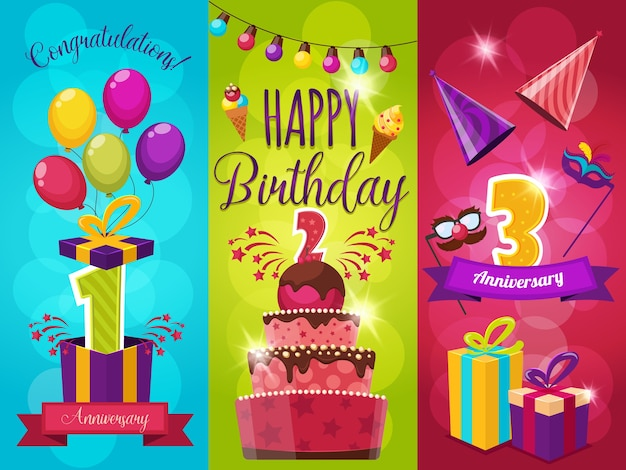 Insieme dell'illustrazione di saluto della festa di compleanno