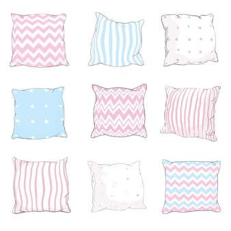 Insieme dell'illustrazione di schizzo dei cuscini
