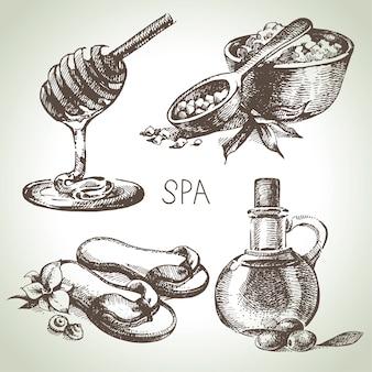 Insieme dell'illustrazione di schizzo della stazione termale. illustrazioni disegnate a mano dell'annata di bellezza