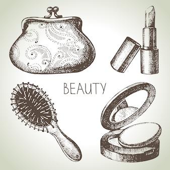 Insieme dell'illustrazione di schizzo di bellezza. illustrazioni disegnate a mano d'epoca di cosmetici