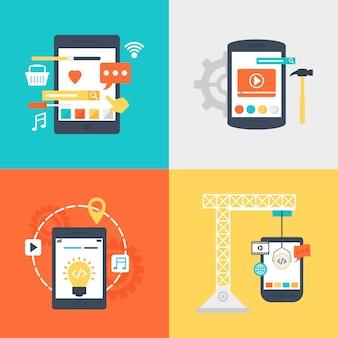 Insieme dell'illustrazione di servizi di sviluppo di progettazione