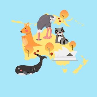 Insieme dell'illustrazione di stile dell'illustrazione degli habitat della fauna selvatica