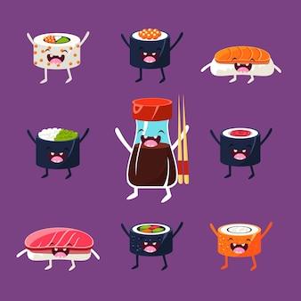 Insieme dell'illustrazione di sushi e sashimi divertente