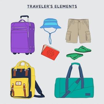 Insieme dell'illustrazione di vettore degli elementi del viaggiatore