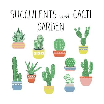 Insieme dell'illustrazione di vettore dei cactus e dei succulenti.