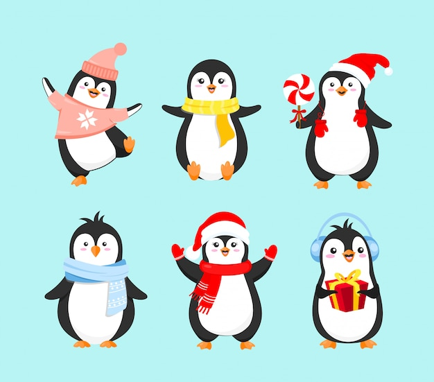 Insieme dell'illustrazione di vettore dei pinguini svegli in vestiti di inverno. concetto di buon natale, felice anno nuovo e vacanze invernali. collezione di pinguini su sfondo azzurro in stile piatto dei cartoni animati.