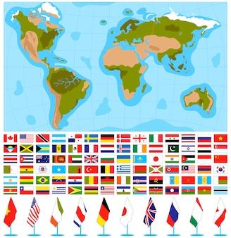 Insieme dell'illustrazione di vettore della mappa di mondo delle bandiere.