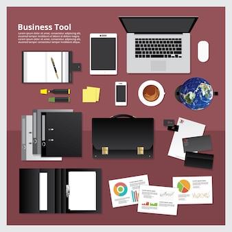 Insieme dell'illustrazione di vettore dello spazio di lavoro dello strumento di affari