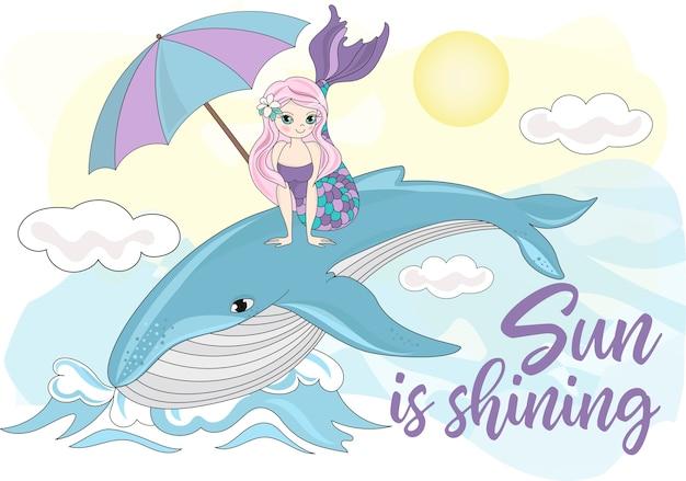 Insieme dell'illustrazione di vettore di colore di clipart di viaggio per mare mermaidale di balena