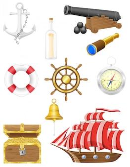 Insieme dell'illustrazione di vettore di elementi antichi mare