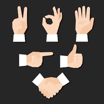 Insieme dell'illustrazione di vettore di gesti del dito delle mani