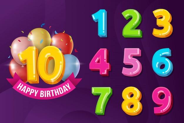 Insieme dell'illustrazione di vettore di numeri di anniversario di compleanno