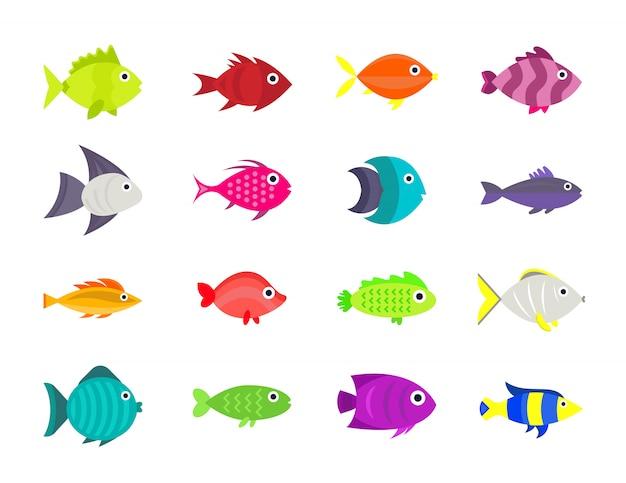 Insieme dell'illustrazione di vettore di pesce carino