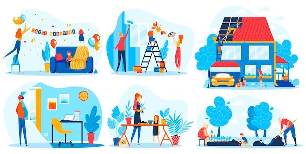 Insieme dell'illustrazione di vettore di progettazione della casa della decorazione. le persone della famiglia piatta del fumetto decorano l'interno della casa per la celebrazione, fanno riparazioni in camera o casa, lavoro, pianta
