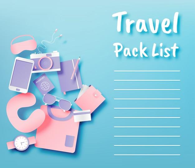 Insieme dell'illustrazione di vettore di stile di arte di carta della lista di imballaggio degli oggetti di viaggio