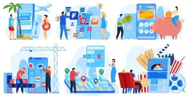 Insieme dell'illustrazione di vettore di sviluppo di applicazioni aziendali.