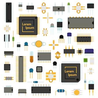 Insieme dell'illustrazione di vettore di tecnologia delle icone dei chip di computer di circuito.