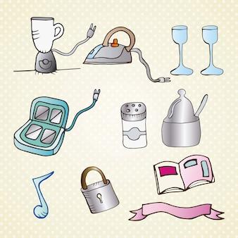 Insieme dell'illustrazione di vettore di tiraggio della mano di oggetti
