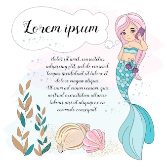 Insieme dell'illustrazione di vettore subacqueo del mare telefono di mermaid