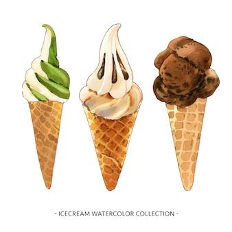 Insieme dell'illustrazione isolata del cono gelato dell'acquerello per uso decorativo.