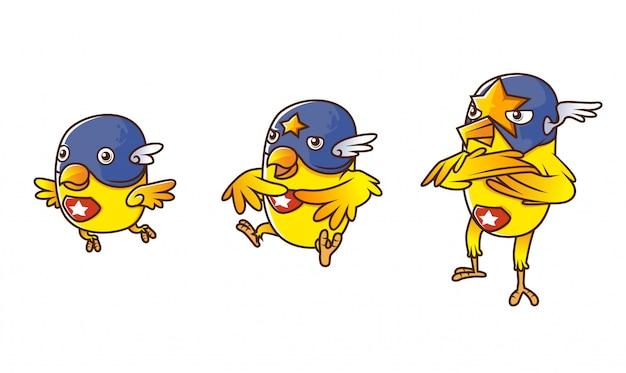 Insieme dell'illustrazione isometrica gialla di evoluzione del carattere dell'eroe canarino dell'uccello, con fondo bianco