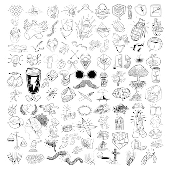 Insieme dell'illustrazione mescolato di stile di vita dell'illustrazione della mano