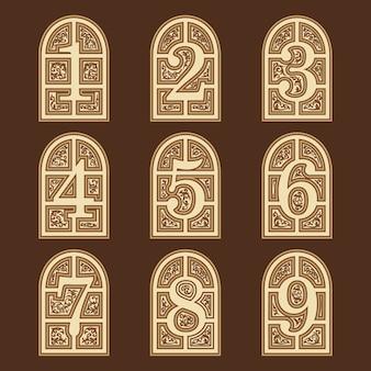 Insieme dell'illustrazione numerica delle porte di legno