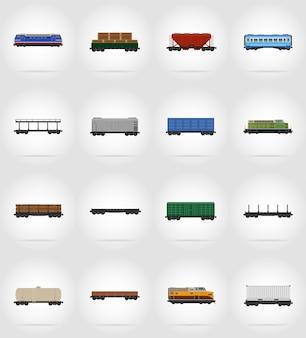 Insieme dell'illustrazione piana di vettore del treno ferroviario del carrello