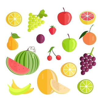 Insieme dell'illustrazione piana di vettore di progettazione di frutti.