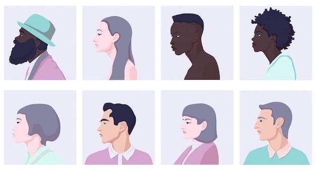 Insieme dell'illustrazione piana di vista laterale del fronte differente della donna e dell'uomo del fumetto