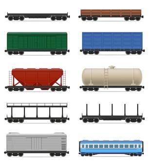 Insieme dell'illustrazione realistica di vettore del treno del trasporto ferroviario