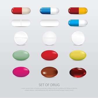 Insieme dell'illustrazione realistica di vettore della droga