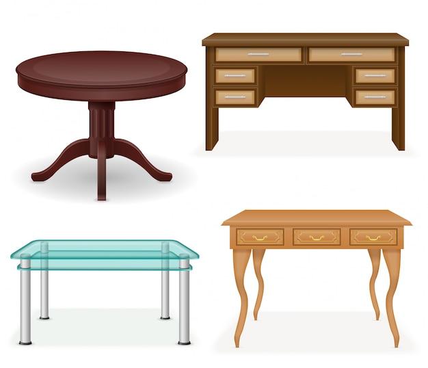 Insieme dell'illustrazione realistica di vettore della tabella della mobilia