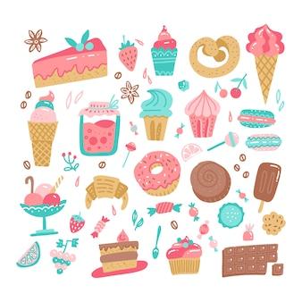 Insieme dell'illustrazione semplice approssimativa disegnata a mano dei dolci e delle caramelle di vari scarabocchi di colore.
