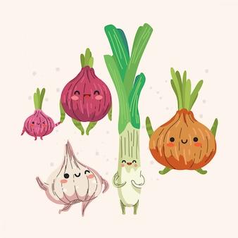 Insieme dell'illustrazione sveglia della cipolla e dell'aglio
