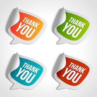 Insieme dell'illustrazione variopinta degli autoadesivi di ringraziamento