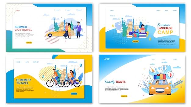 Insieme dell'insegna del campo di lingua di estate di viaggio dell'automobile della famiglia