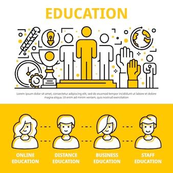 Insieme dell'insegna di addestramento di istruzione del personale, stile del profilo