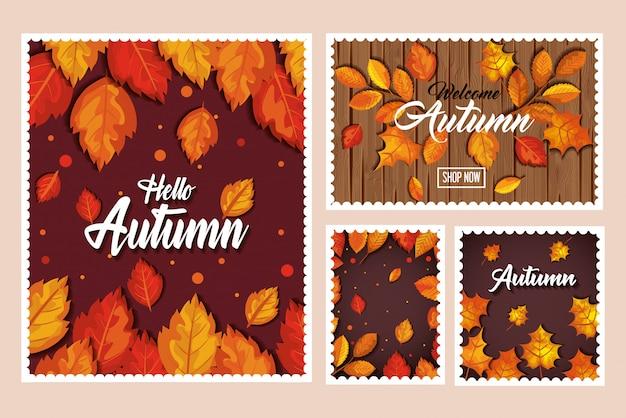 Insieme dell'insegna di autunno, carta e modello senza cuciture con la decorazione delle foglie