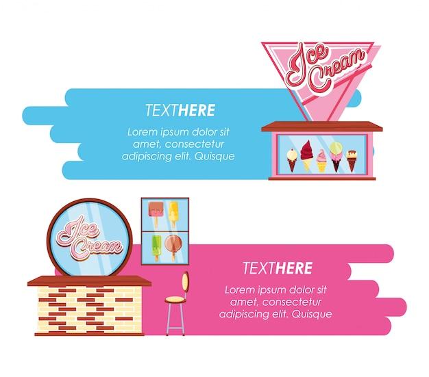 Insieme dell'insegna di stili delle barre della gelateria