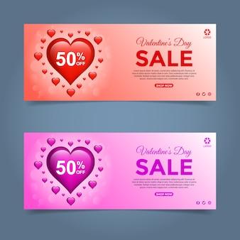 Insieme dell'insegna di vendita di offerta speciale di san valentino