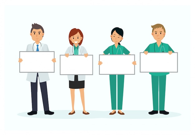 Insieme dell'insegna in bianco del segno della stretta del personaggio dei cartoni animati di medico. illustrazione. carattere medico stile piatto.