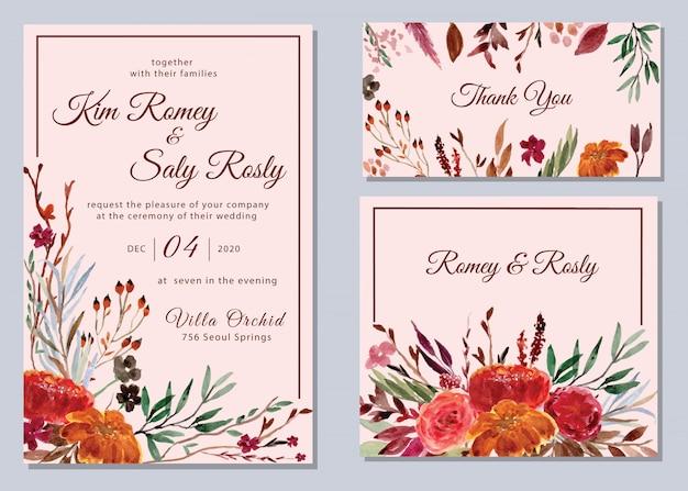 Insieme dell'invito di nozze floreale dell'acquerello