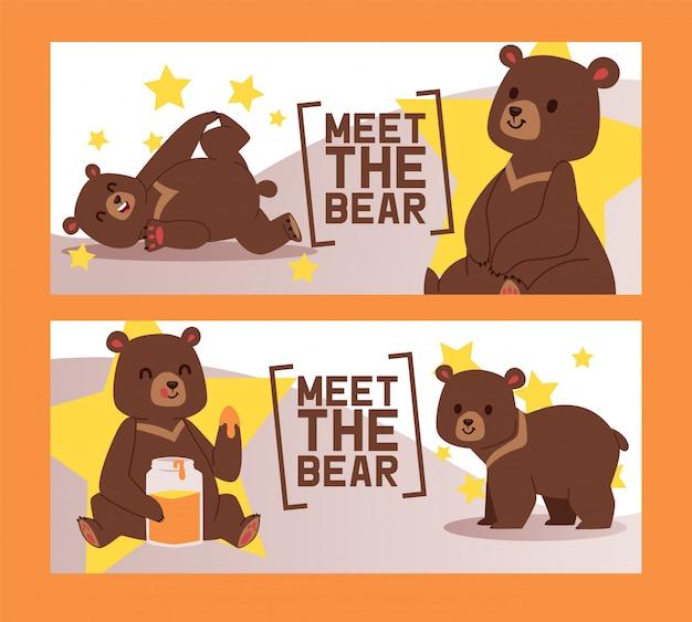 Insieme dell'orso di raduno dell'illustrazione delle bandiere del circo