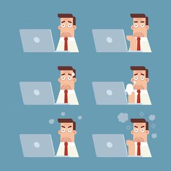 Insieme dell'uomo d'affari che lavora al computer portatile con differenti emozioni