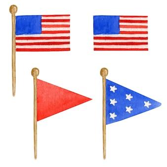 Insieme della bandiera americana, illustrazione disegnata a mano dell'acquerello per la felice festa dell'indipendenza dell'america. 4 luglio concetto di design degli stati uniti su backgraund bianco
